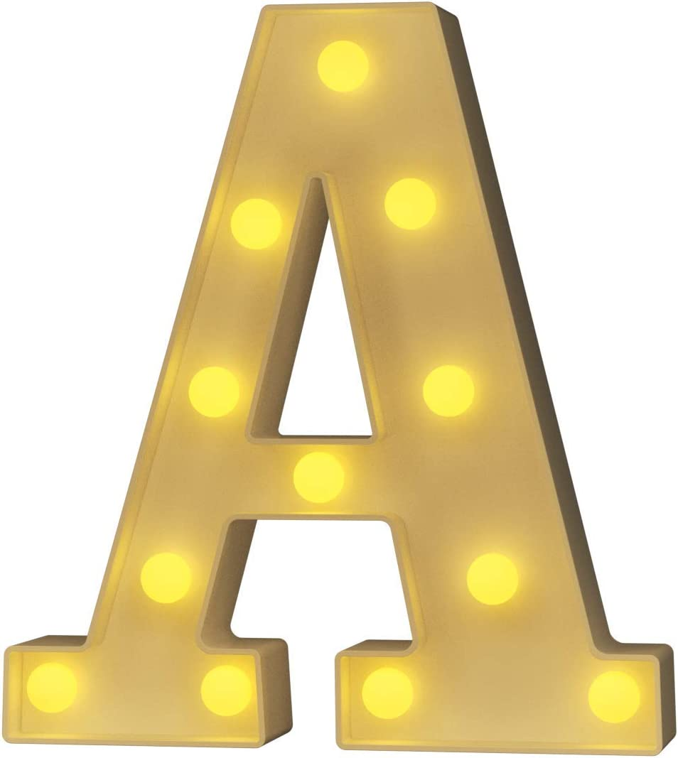 YOUZONE LED Marquee Letters LED Letter Lights Alphabet Light Up Sign Decoration Letters A - Z Symbol & for Wedding Birthday Party Battery Powered Christmas Lamp Night Light Home Bar Decoration (A)