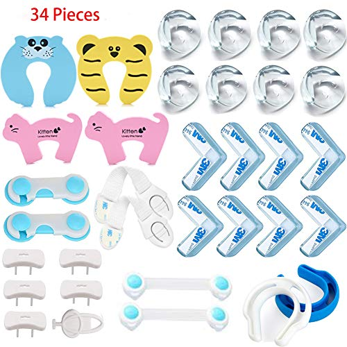 (Baby Proofing Kit- Value Pack 34 Pcs,Best Value Home Safety Kit ===> 6 Door Stopper,16 Pcs Corner & Edge Protectors,6 Baby Safety Cupboard Straps,5 Outlet & Plug Covers 1 Key,No Drill Required Baby Pr)
