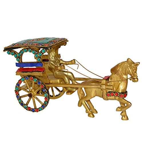 Aakrati Vintage Old Horse Cart Made in Brass a Type of Old Golf Cart with Driver and Golfing Equipment Handmade in India