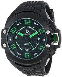 Joshua & Sons Men's JS-39-BK Swiss Quartz Silicon Strap Crown Guard Watch