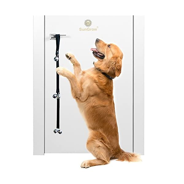Potty Door Bells for Dogs — Potty Train Your Puppy the Easy Way – Heavy Duty Nylon Bells for Door – House-training Small, Medium & Large Pets – Three Levels of Bell to Reach the Smallest Puppy