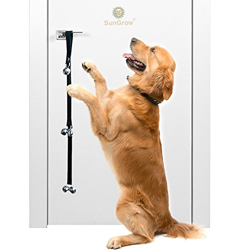 Potty Door Bells for Dogs --- Potty Train Your Puppy the Easy Way - Heavy Duty Nylon Bells for Door - House-training Small, Medium & Large Pets - Three Levels of Bell to Reach the Smallest Puppy