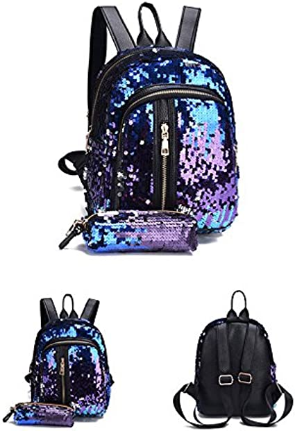 Donalworld Girl Glitter Sequin Backpack Set Bling Rucksack Bag with Pencil Case Bu DNDBSJB045B
