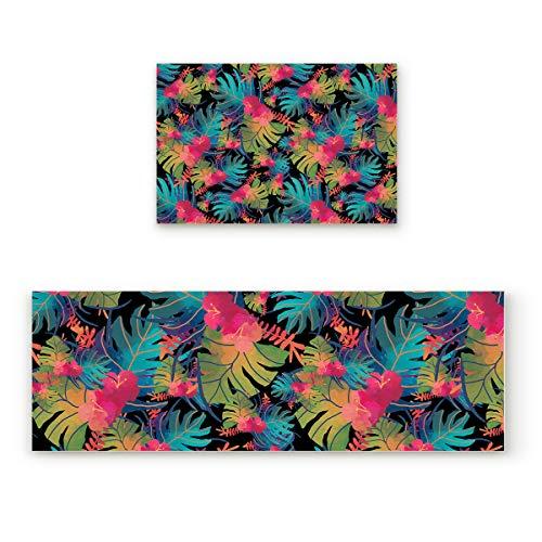 Lightrain Colorful Turtle Leaf 2 Piece Doormat Hallway Kitchen Runner Rug Carpet (Non-Slip) Rubber Backing Area Rug Set Floor Mat