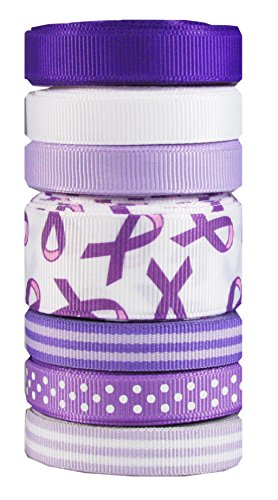 HipGirl Alzheimer's Disease Awareness Ribbon Printed Grosgrain Ribbon (35yd (7x5yd) 3/8