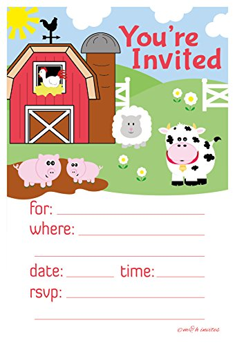 Farm Animals Invitations - Birthday or Baby Shower - Fill In Style (20 Count) With Envelopes Baby Birthday Party Invitations