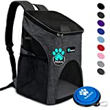 PetAmi Premium Pet Carrier Backpack for Small Cats and Dogs | Ventilated Design, Safety Strap, Buckle Support | Designed for Travel, Hiking & Outdoor Use (Charcoal)