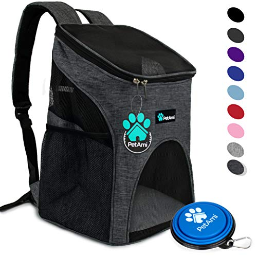PetAmi Premium Pet Carrier Backpack for Small Cats and Dogs | Ventilated Design, Safety Strap, Buckle Support | Designed for Travel, Hiking & Outdoor Use (Charcoal) by PetAmi