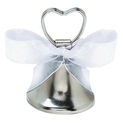 Contemporary Place Card Holders - Grasslands Road Bell Place Card Holder, 2 by 3-Inch, Silver, Metal, 24-Pack