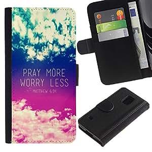 Be Good Phone Accessory // Caso del tirón Billetera de Cuero Titular de la tarjeta Carcasa Funda de Protección para Samsung Galaxy S5 V SM-G900 // pray more worry less inspirational