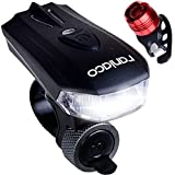 400 lumens USB Rechargeable Bicycle Light Set, LED Safety Bike Light for Outdoors, Bright White Headlight and Red rear light