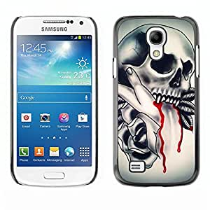 LECELL--Protective Case / Cover / Skin For Samsung Galaxy S4 Mini i9190 MINI VERSION! -- Skull Vampire Blood Rose Feathers --