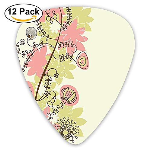 Cute Flower Branches In Soft Pastel Tones With Swirl Lines Petals Pattern Guitar Picks 12/Pack -