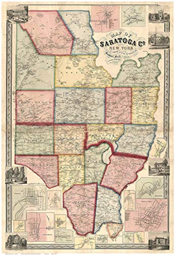 Saratoga County New York 1856 - Wall Map with Homeowner Names - Old Map Reprint
