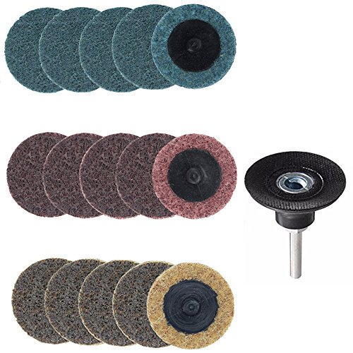 Yakamoz 15pcs 2 Inch Roll Lock Surface Conditioning Sanding Disc with Roloc Disc Pad Holder, Quick Change R-Type Discs | Fine Medium Coarse Grit ()