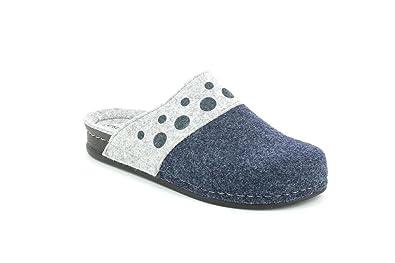 Grunland Grünland REPS CI2255 pantoufles en tissu gris bleu femmes Blu - Chaussures Chaussons Femme