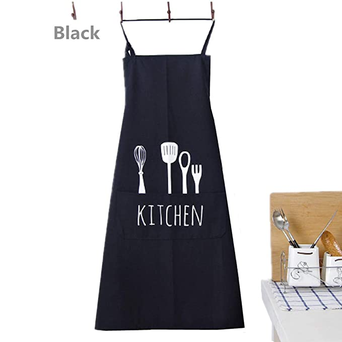 Fyuan Delantal Ajustable del Babero de con 1 Bolsillos Que Cocina los Delantales de la Cocina para Las Mujeres Cocinero de los Hombres, Negro