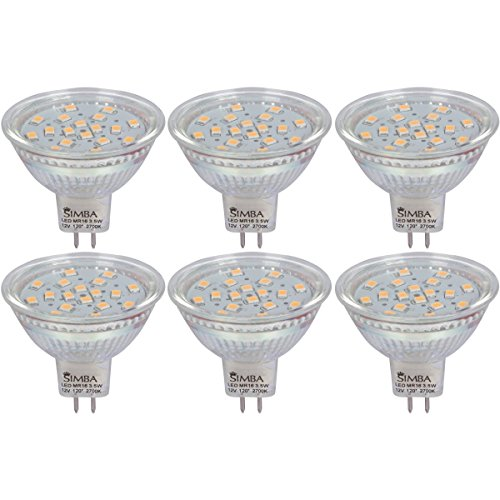 Bi Pin Base Reflector - [6 Pack] Simba Lighting LED MR16 Spotlight 3.5W 380lm 50W Halogen Equivalent 120° Beam Angle 12V AC/DC for Accent, Track Light, GU5.3 Bi-Pin Base, Glass Cover, Non-Dimmable Warm White 2700K