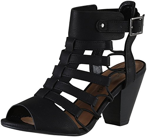 City Classified Women's Awesome Gladiator Strappy Chunky Block Heel Adjustable Ankle Strap Sandal with Lightly Padded Insole (7, Black)
