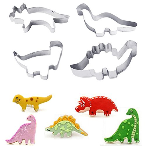 (Astra Gourmet Set of 4 Stainless Steel Dinosaur Cookie Cutter Set - T Rex Brontosaurus Pterodactyl Stegosaurus Shapes)