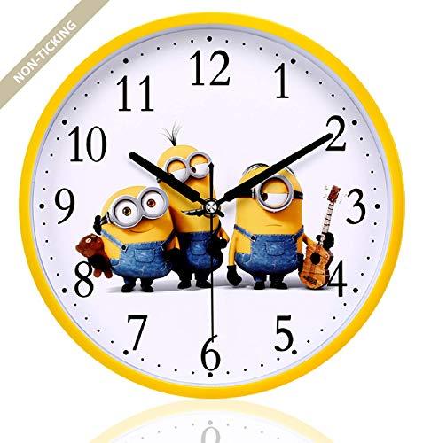 Filota Non-Ticking 100% Quiet Clock - for Kid's Room, Bedroom, Living Room, Kitchen, Restroom, Preschool Classroom, Daycare Classroom (Minions 12inch)]()