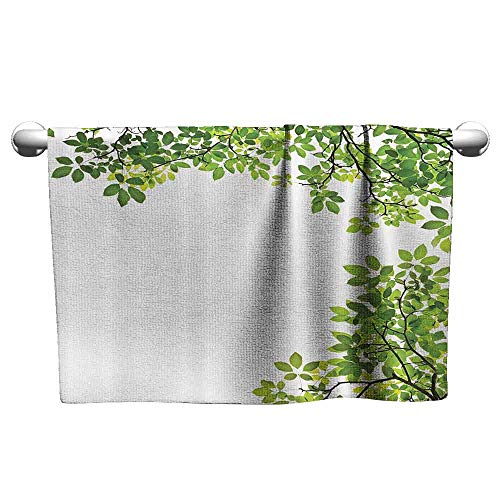 DUCKIL Absorbent Towel Leaves Decor Broad Leaves Close up Background Garden Organic Foliage Shrubs Cells Higher Plant Image Modern Bath Sheet 39 x 20 inch Green White