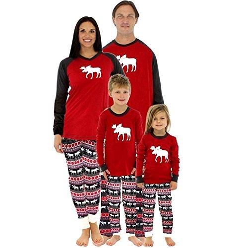 Pajamas Bambini Pigiama Set Pantaloni Natale Rossi Mamma Per Vacanza Stampati Due Babbo Xmas Men Top Famiglia Di Natale Renna Rotondo Di Manica Suit Papà Collo Pezzi Lungo Lunga PE6RT