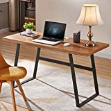BON AUGURE 55″ Industrial Computer Desk for Home Office, Rustic Simple Writing Desk, Vintage Workstation Wood Desk & Retro Study Table (Cherry Natural)