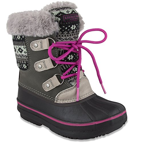 LONDON FOG Girls Tottenham Cold Weather Snow Boot GY/PK Size 2 Grey/Pink