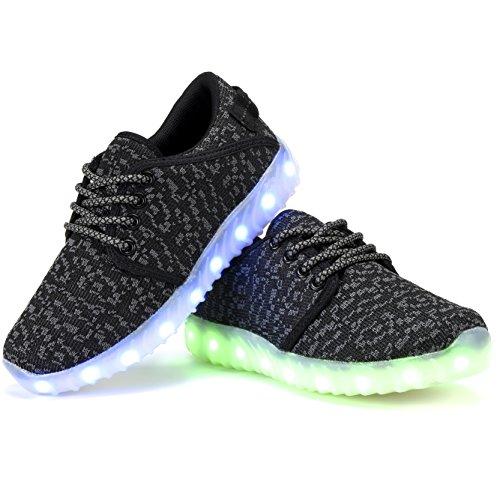 COODO Männer Frauen Kinder LED Schuhe 7-Color-Lights USB Lade leuchten Sneakers Schwarz