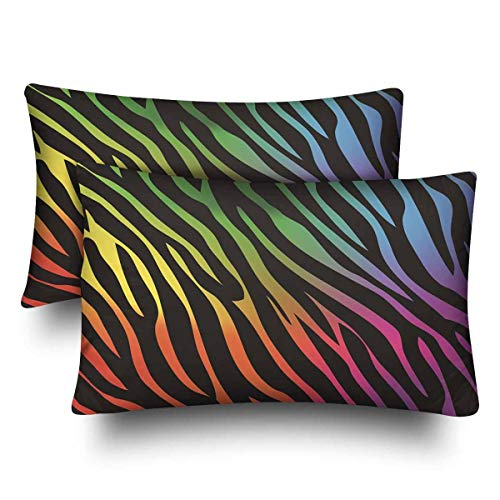 Zngsan Rainbow Zebra Pillow Cases Pillowcase Standard Size Set of 2, Rectangle Pillow Covers Protector for Home Couch Sofa Bedding Decorative 20x30 inch ()