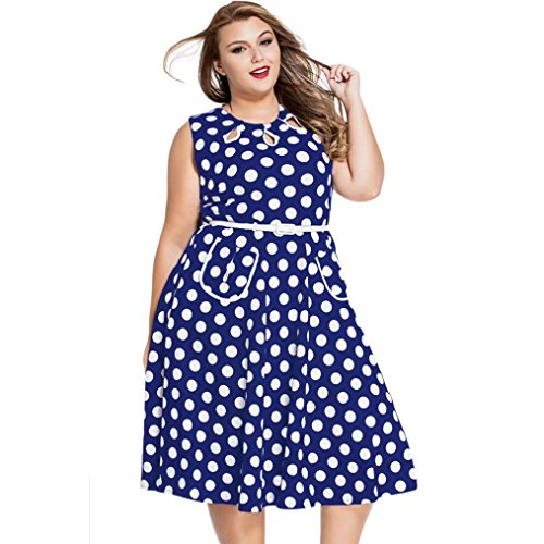 NOMENI Womens Vintage 1950'S Polka Dots Casual Party Swing Dress Plus Size (Embroidered Dot Capri Pant)