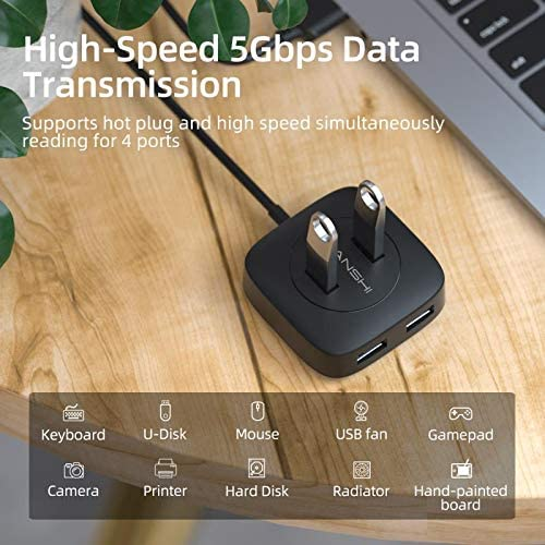 Surface Pro Flash Drive SNANSHI 4-Port USB 3.0 Hub Data USB Hub with 5 ft Extended Cable High Speed Compatible for MacBook XPS iMac USB 3.0 Hub Long Cable Mac Mini Mac Pro PC
