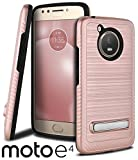 Celljoy Case compatible with Moto E4 (NON PLUS) 2017 Model [Brushed Armor] [Carbon Fiber Trim] [Magnetic Kickstand] Slim Fit Dual Layer (Brushed Metal Texture) TPU Hybrid -Thin Hard Cover (Rose Gold)