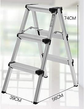 Escaleras Escalera de aluminio portátil de 3 pasos, Construcción de aluminio multiusos, fuerte y liviana - Antideslizante - Diseño plegable fácil de guardar - Ideal for el hogar/cocina/garaje: Amazon.es: Bricolaje y herramientas
