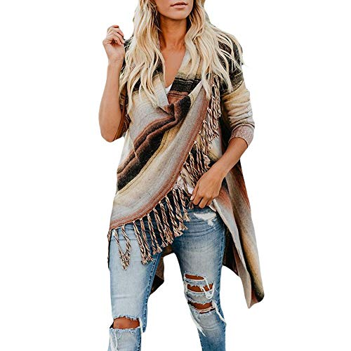 Memela Clearance Sale!!Tassel Women Patchwork Long Sleeve Gradient Fringe Cardigan Tops Sweater Coat (Coffee, M)]()