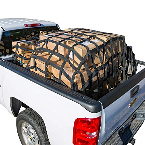 (Rakapak Rugged Truck Bed Cargo Net with Additional Elastic Net Included, 8 feet x 6.75 feet)