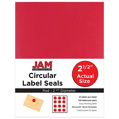 JAM PAPER Circle Label Sticker Seals - 2.5 Inch Diameter - Red - ()