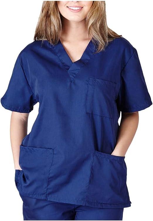 5 Farben Damen Uniformen Schlupfkasack Gute Qualit/ät V-Neck Top