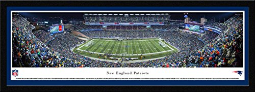 New England Patriots - End Zone - Night - Blakeway Panoramas NFL Posters with Select Frame (Tom Brady The Best Quarterback Ever)