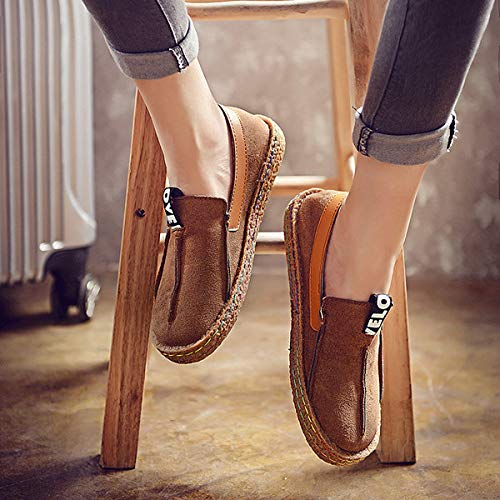 39 Size Large Marron Taille Casual Qiusa Women couleur Flats Suede Eu Faux On Loafers Slip Vert 0fwq8g6wx