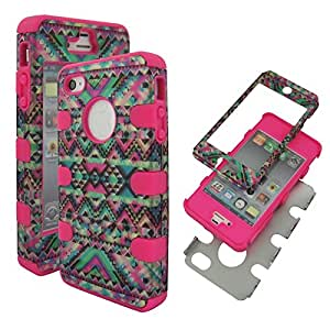 Hybrid Pink Pink Tribal Apple Iphone 4, 4S Box High Impact Shock Defender Plastic Outside with Soft Silicone Inside Drop Defender Protector Snap-on Tuff Combo Rugged Body Armor Defender Triple Layer Shockproof Case Cover