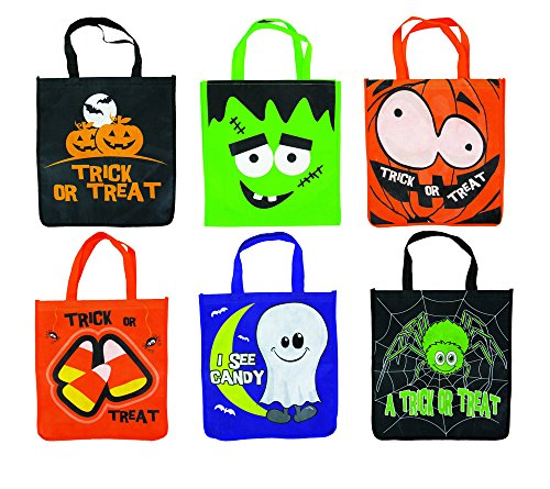 Halloween Jumbo Reusable Trick or Treat Tote Bags, Various Designs - 6 Pack, 14