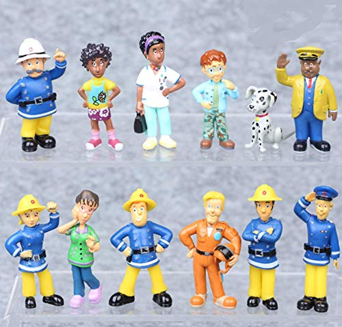 Astra Gourmet Fireman Sam Figures Toys - 12 Pcs Set Cartoon Doll Toys Cake Toppers for Kids - Fireman Party Supplies Figurines
