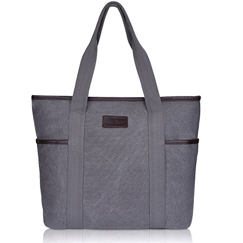 Canvas Tote Bag for Women,Sunny Snowny Large Tote Bags,Work School Shoulder Bag(8002,Gray) (Tote Bag With Pockets)