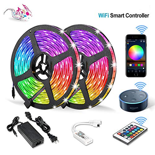 Litake WiFi LED Strip Lights, Wireless RGB LED Light Strips 32.8ft, 300 LED SMD 5050 RGB Phone Controlled Light Strips,Non-Waterproof LED Tape Ribbon Lights Working with Alexa Android/iOS System