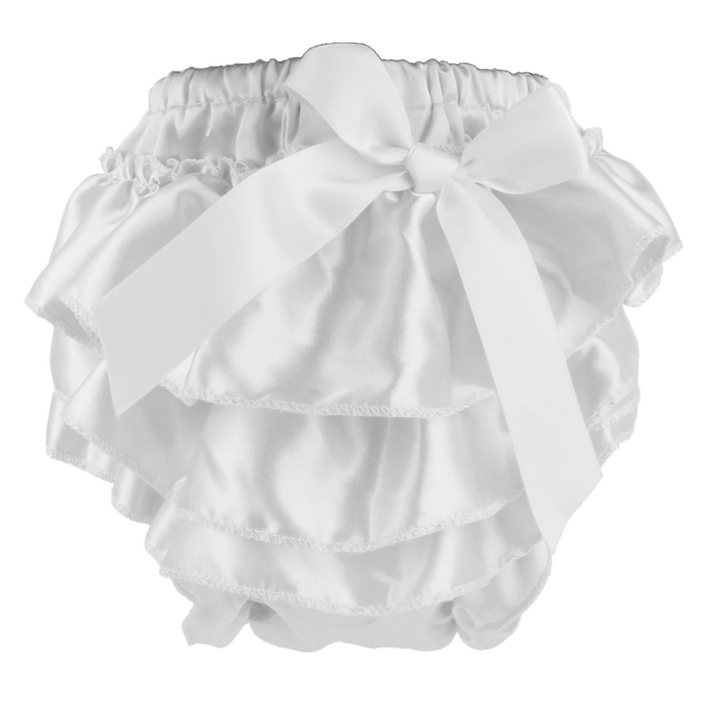 Baby Girl Satin Bowknot Panties Bloomers Diaper Cover for 0-6 Months S White Generic