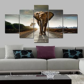 Wieco Art 5 Panels Elephant Pictures Paintings on Canvas Prints Wall Art for Living Room Bedroom Home Decorations Large Size Modern Stretched and Framed Giclee Canvas print Animals Landscape Artwork