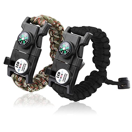 Paracord Bracelet, 20 in 1 SmarTake Survival Bracelet with SOS LED Light, Compass, Emergency Knife, Fire Starter for Camping, Climbing, Hiking Waterproof Paracord Bracelets for Women Men 2 Pack (Light Emergency Steel)