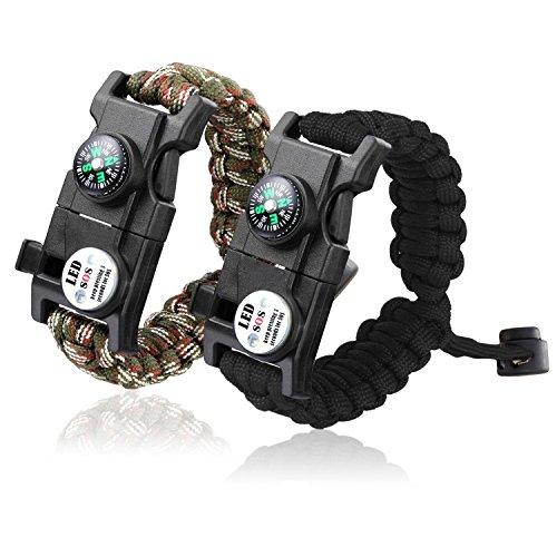 Paracord Bracelet, 20 in 1 SmarTake Survival Bracelet with SOS LED Light, Compass, Emergency Knife, Fire Starter for Camping, Climbing, Hiking Waterproof Paracord Bracelets for Women Men 2 Pack (Light Steel Emergency)